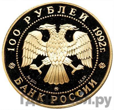 Реверс 100 рублей 1992 года ММД Россия Саха Якутия 1632