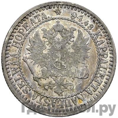 Реверс 1 марка 1866 года S Для Финляндии