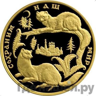 Аверс 200 рублей 1994 года ММД Сохраним наш мир соболь