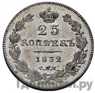 Аверс 25 копеек 1832 года СПБ НГ
