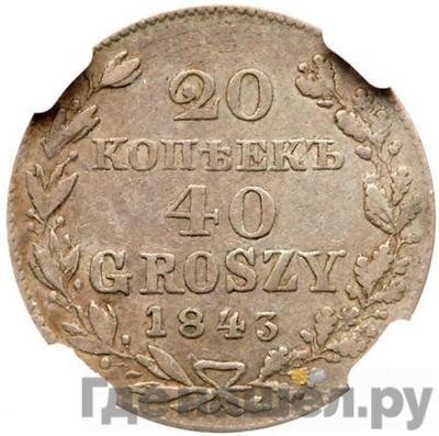 Аверс 20 копеек - 40 грошей 1843 года МW Русско-Польские
