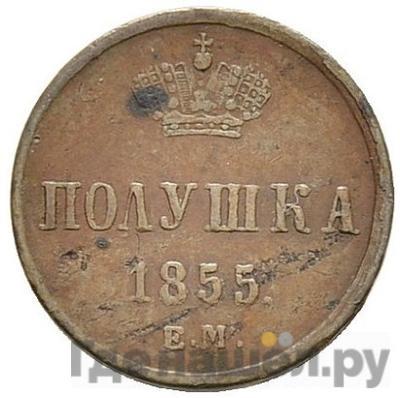 Аверс Полушка 1855 года ЕМ