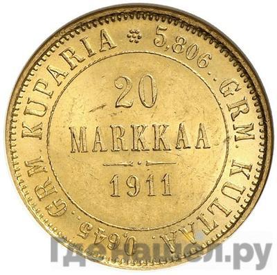 Аверс 20 марок 1911 года L Для Финляндии