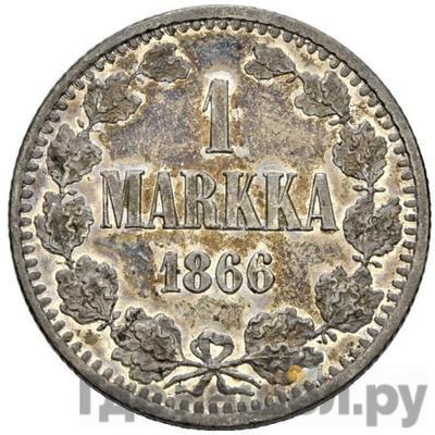 Аверс 1 марка 1866 года S Для Финляндии