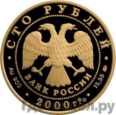 Реверс 100 рублей 2000 года ММД . Реверс: Россия на рубеже тысячелетий Рудокоп