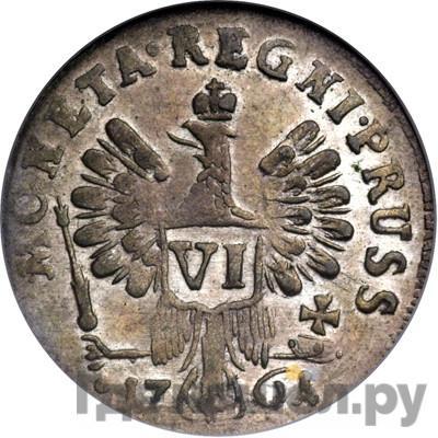 Реверс 6 грошей 1761 года  Для Пруссии