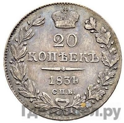 Аверс 20 копеек 1834 года СПБ НГ