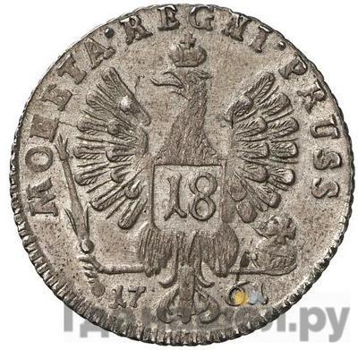 Реверс 18 грошей 1761 года  Для Пруссии