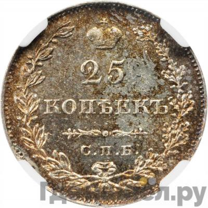 Аверс 25 копеек 1827 года СПБ НГ