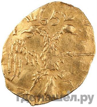Реверс Жалованный золотой 1654 года Алексей Михайлович С указанием даты 1/4 угорского