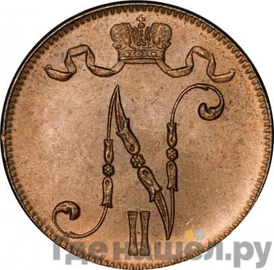 Реверс 5 пенни 1917 года  Для Финляндии