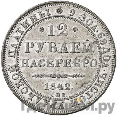 Аверс 12 рублей 1842 года СПБ