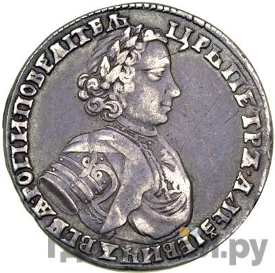 Аверс Полтина 1706 года  Портрет 1706 года  Крест державы малый