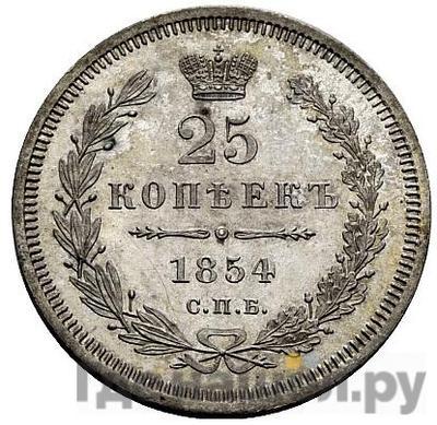 Аверс 25 копеек 1854 года СПБ НI