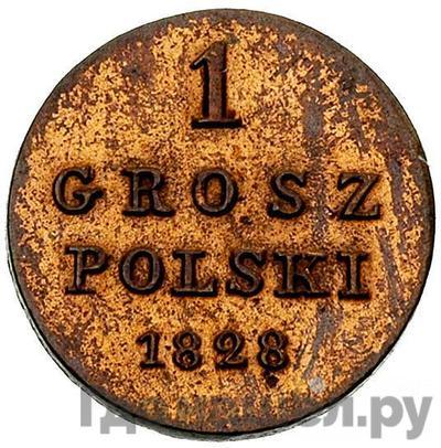 Аверс 1 грош 1828 года FH Z MIEDZ KRAIOWEY Для Польши
