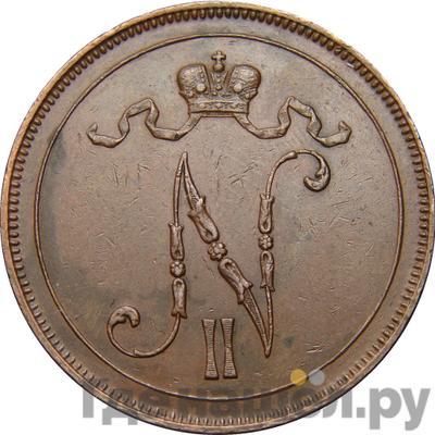 Реверс 10 пенни 1898 года  Для Финляндии