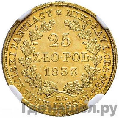 Реверс 25 злотых 1833 года KG Для Польши