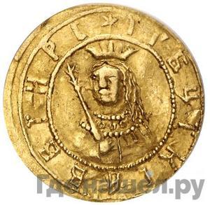 Аверс Жалованный золотой 1682 года  - 1689 Иван и Петр Алексеевичи Портрет Ивана и Петра