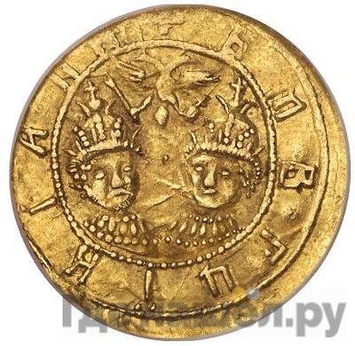Реверс Жалованный золотой 1682 года  - 1689 Иван и Петр Алексеевичи Портрет Ивана и Петра