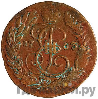 Аверс 2 копейки 1763 года ЕМ