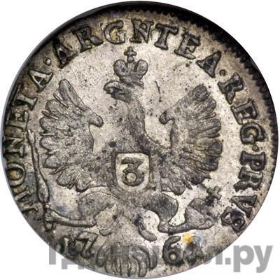 Реверс 3 гроша 1761 года  Для Пруссии ELISAB . I . IMP REGNI