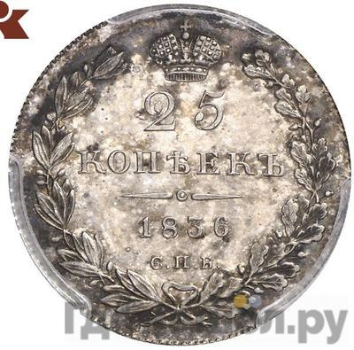 Аверс 25 копеек 1836 года СПБ НГ