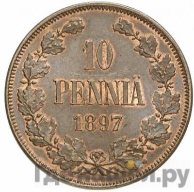 Аверс 10 пенни 1897 года Для Финляндии