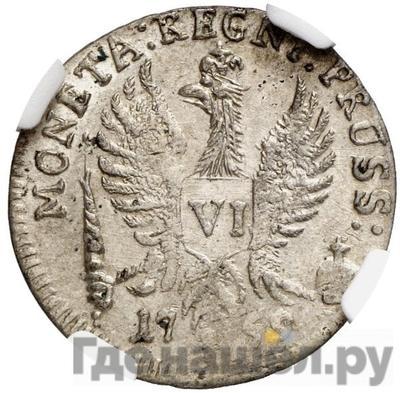 Реверс 6 грошей 1759 года  Для Пруссии