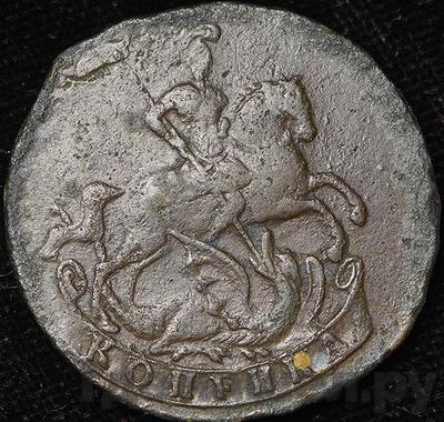 Реверс 1 копейка 1757 года