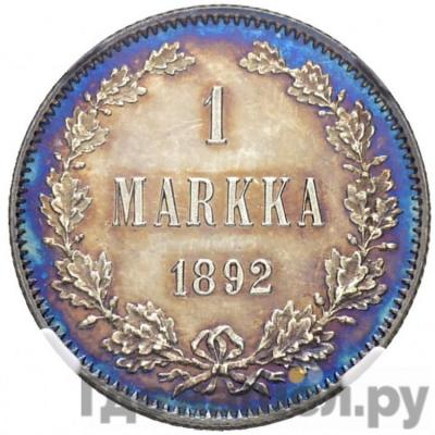 Аверс 1 марка 1892 года L Для Финляндии