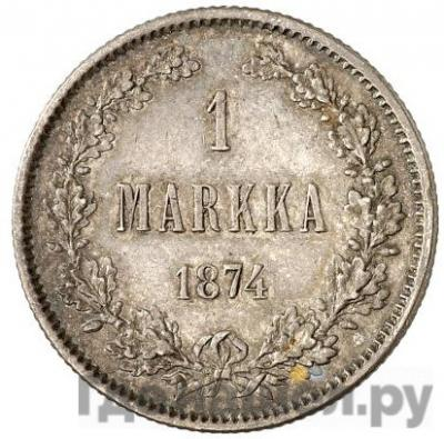 Аверс 1 марка 1874 года S Для Финляндии