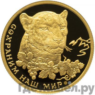 Аверс 50 рублей 2011 года ММД Сохраним наш мир переднеазиатский леопард
