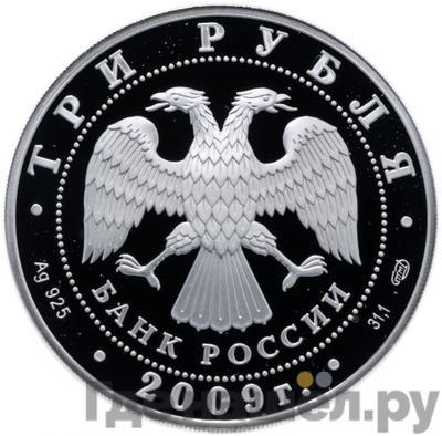 Реверс 3 рубля 2009 года СПМД 300 лет Полтавской битвы (8 июля 1709 г.)