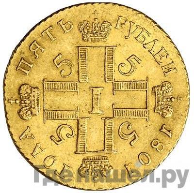 Реверс 5 рублей 1801 года СМ АИ