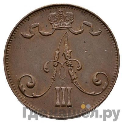 5 пенни 1888 года  Для Финляндии