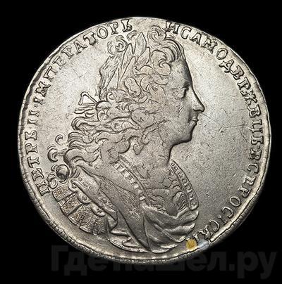 Аверс 1 рубль 1729 года  Московский тип