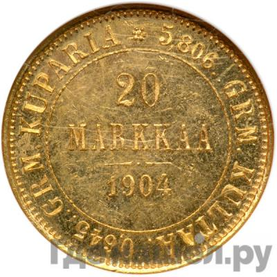 Аверс 20 марок 1904 года L Для Финляндии