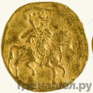Аверс Жалованный золотой 1584 года - 1589 Федор Иванович Царь на коне с копьем 1 угорский