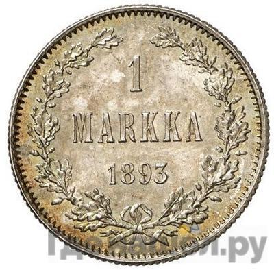 Аверс 1 марка 1893 года L Для Финляндии