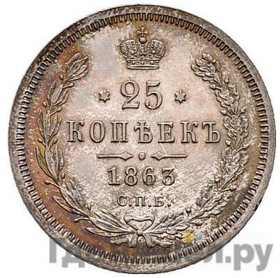 25 копеек 1863 года СПБ АБ