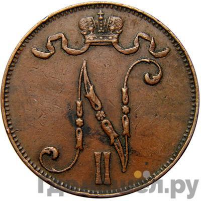 Реверс 5 пенни 1910 года  Для Финляндии