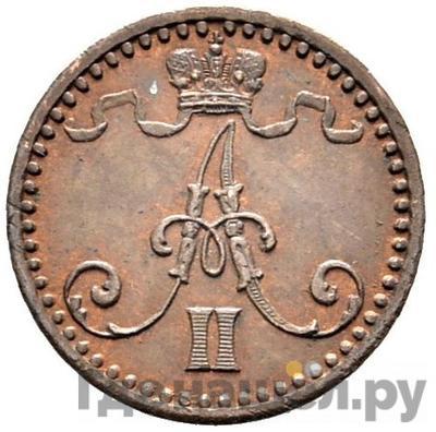 Реверс 1 пенни 1869 года  Для Финляндии