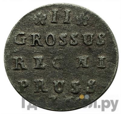 Аверс 2 гроша 1760 года  Для Пруссии Хвост орла широкий