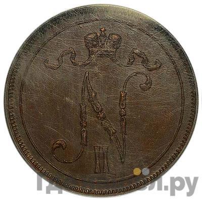 Реверс 10 пенни 1909 года  Для Финляндии